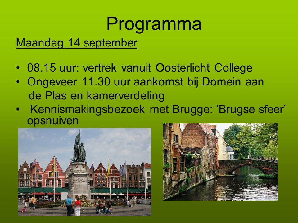 Programma Maandag 14 september