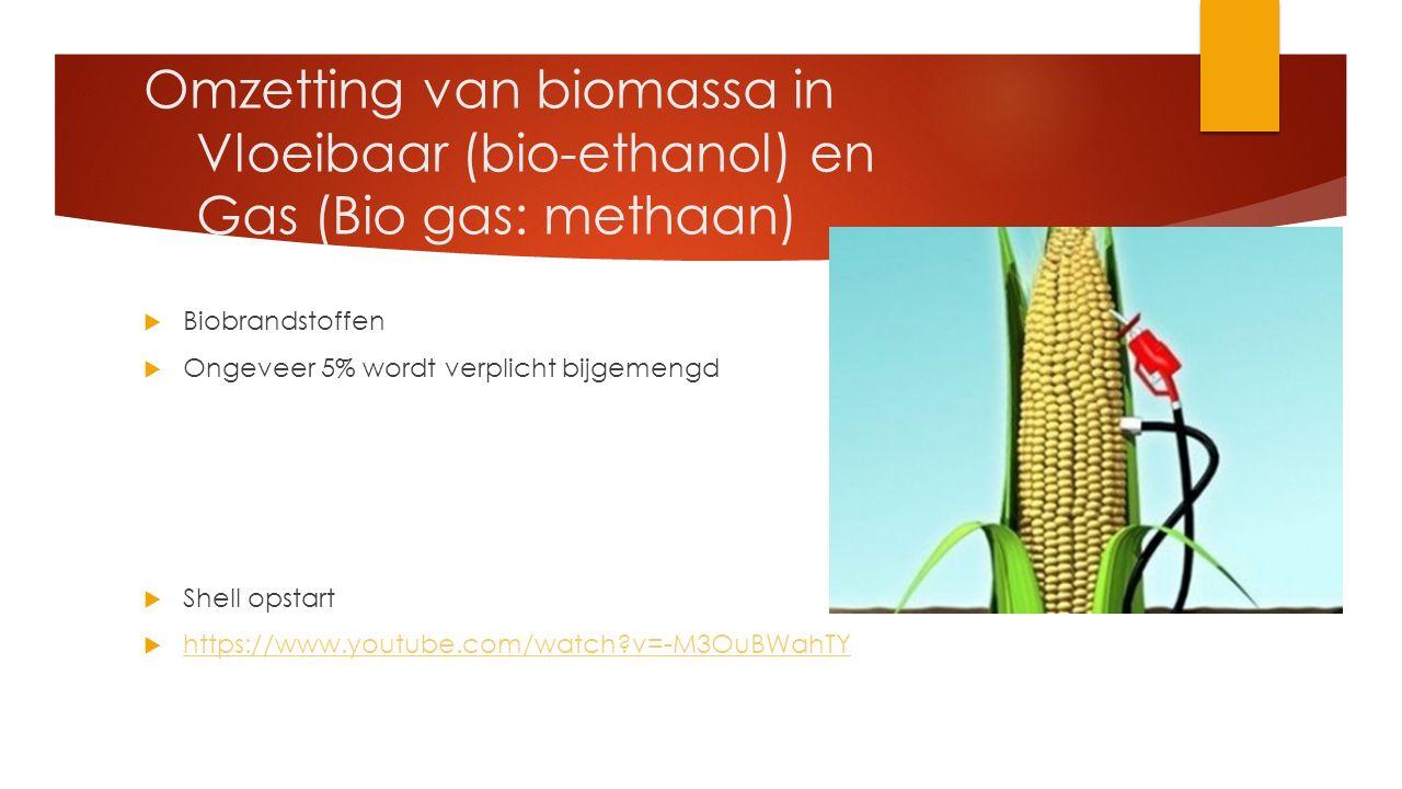 Omzetting van biomassa in. Vloeibaar (bio-ethanol) en