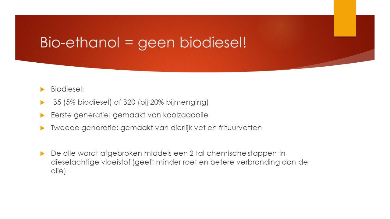 Bio-ethanol = geen biodiesel!