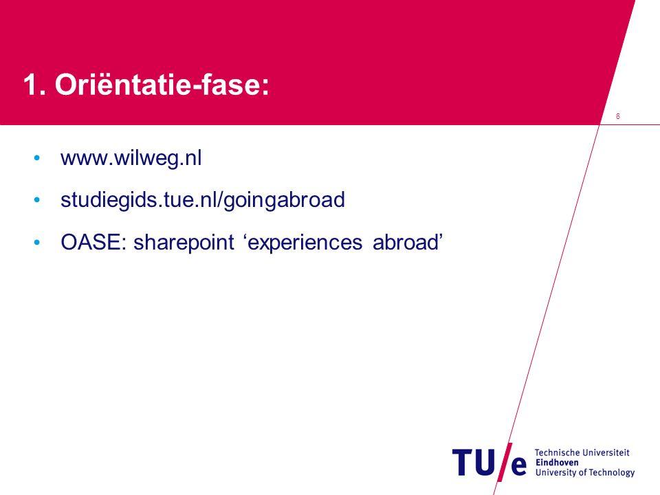 1. Oriëntatie-fase: www.wilweg.nl studiegids.tue.nl/goingabroad