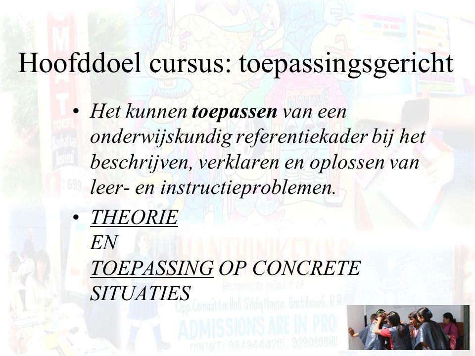 Hoofddoel cursus: toepassingsgericht