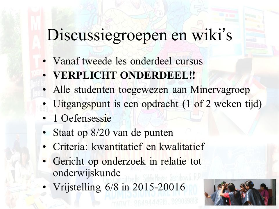 Discussiegroepen en wiki's