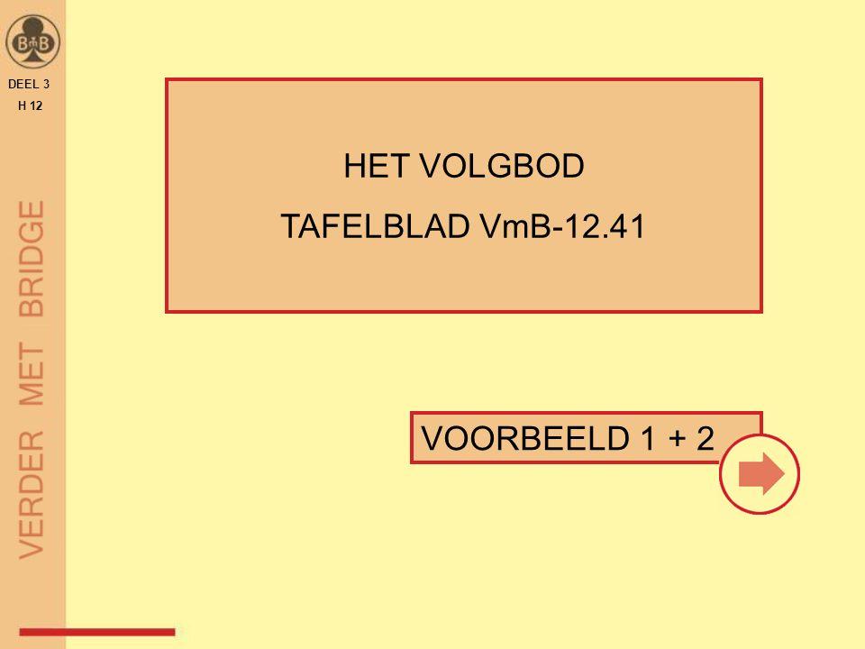 DEEL 3 H 12 HET VOLGBOD TAFELBLAD VmB-12.41 VOORBEELD 1 + 2 11