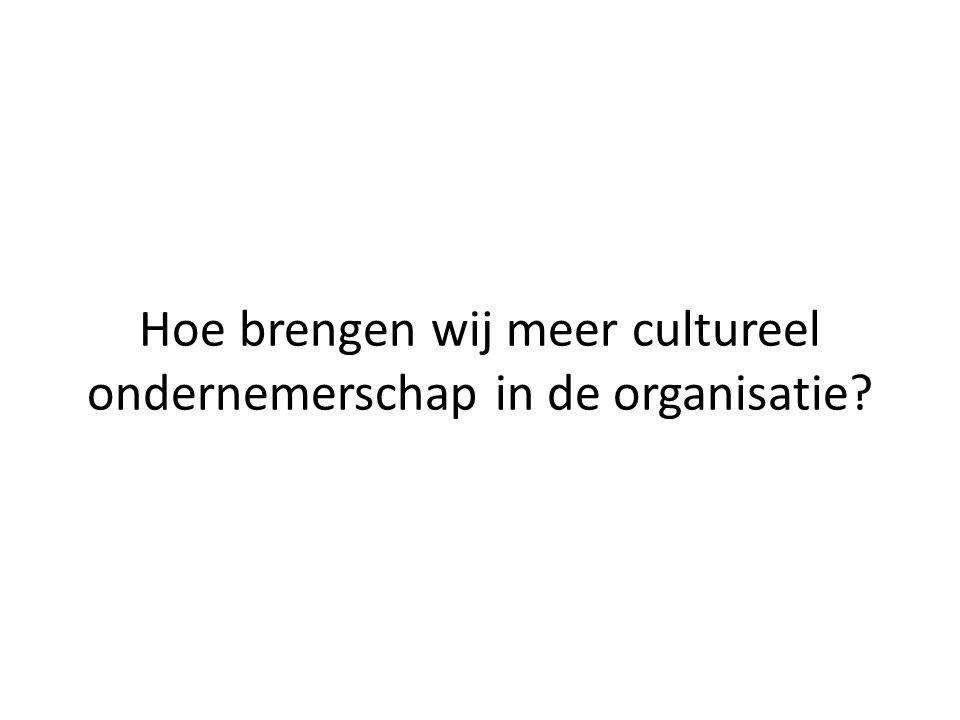 Hoe brengen wij meer cultureel ondernemerschap in de organisatie