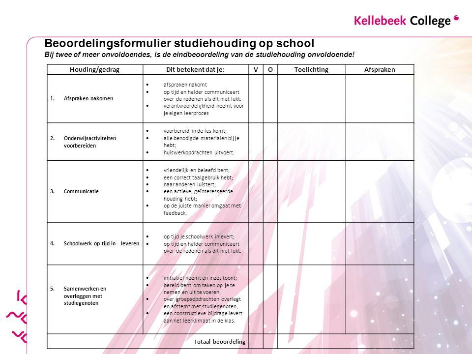Beoordelingsformulier studiehouding op school