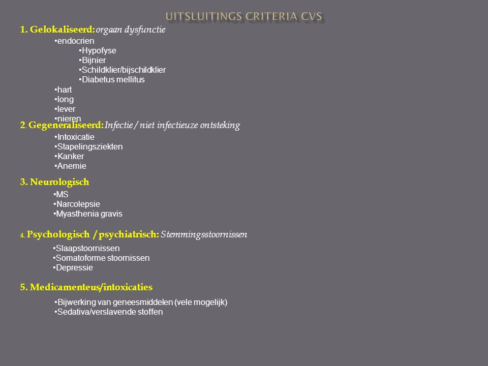 Uitsluitings criteria CVS