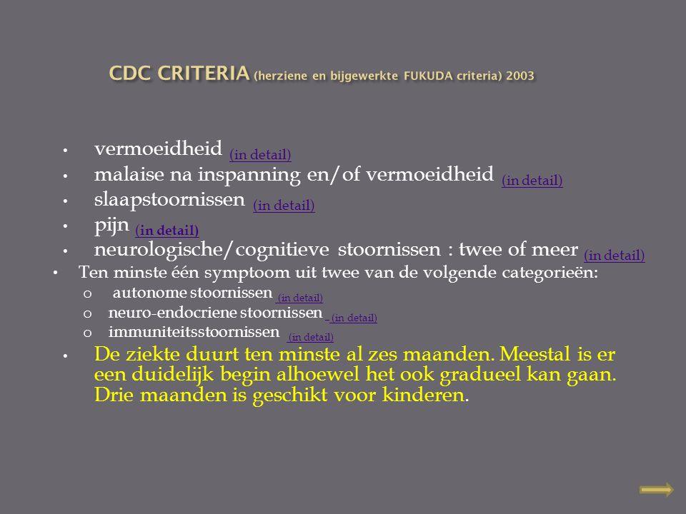 CDC CRITERIA (herziene en bijgewerkte FUKUDA criteria) 2003