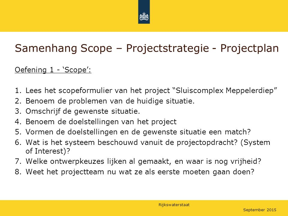 Samenhang Scope – Projectstrategie - Projectplan