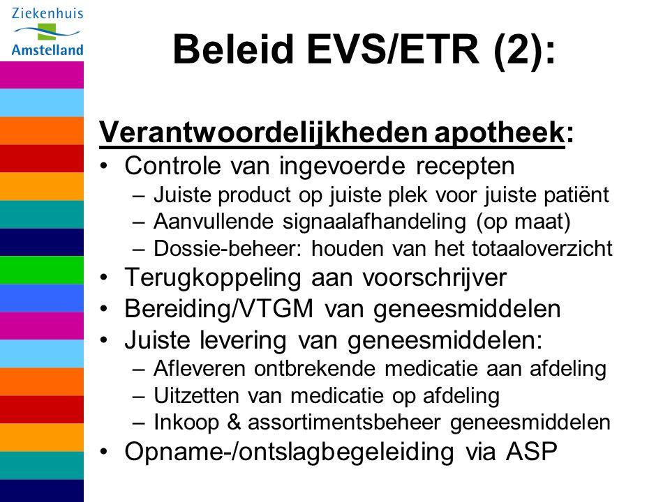 Beleid EVS/ETR (2): Verantwoordelijkheden apotheek: