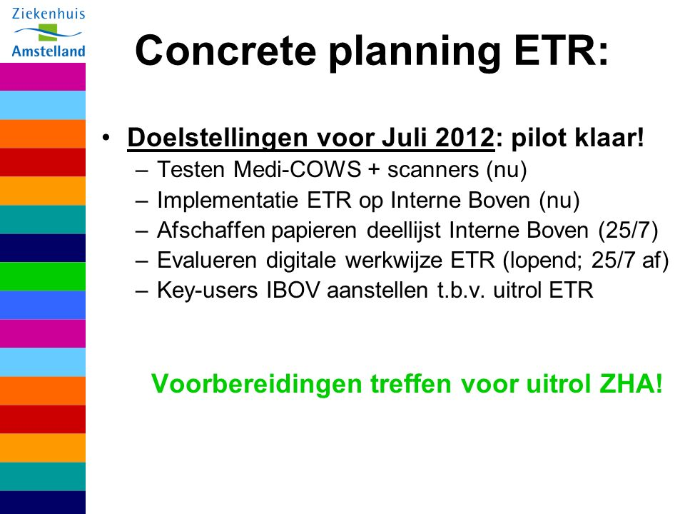 Concrete planning ETR:
