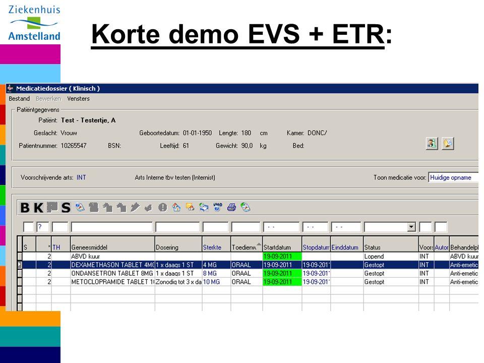 Korte demo EVS + ETR: