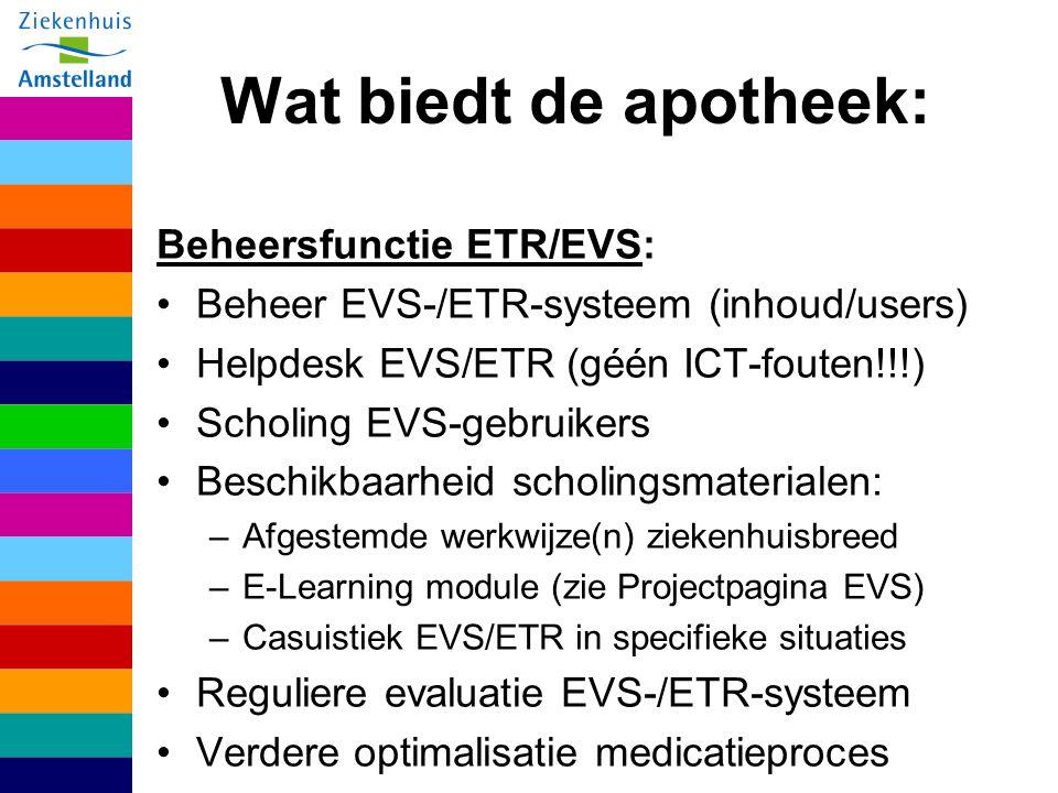 Wat biedt de apotheek: Beheersfunctie ETR/EVS: