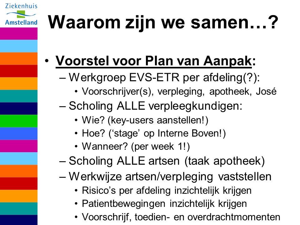 Waarom zijn we samen… Voorstel voor Plan van Aanpak: