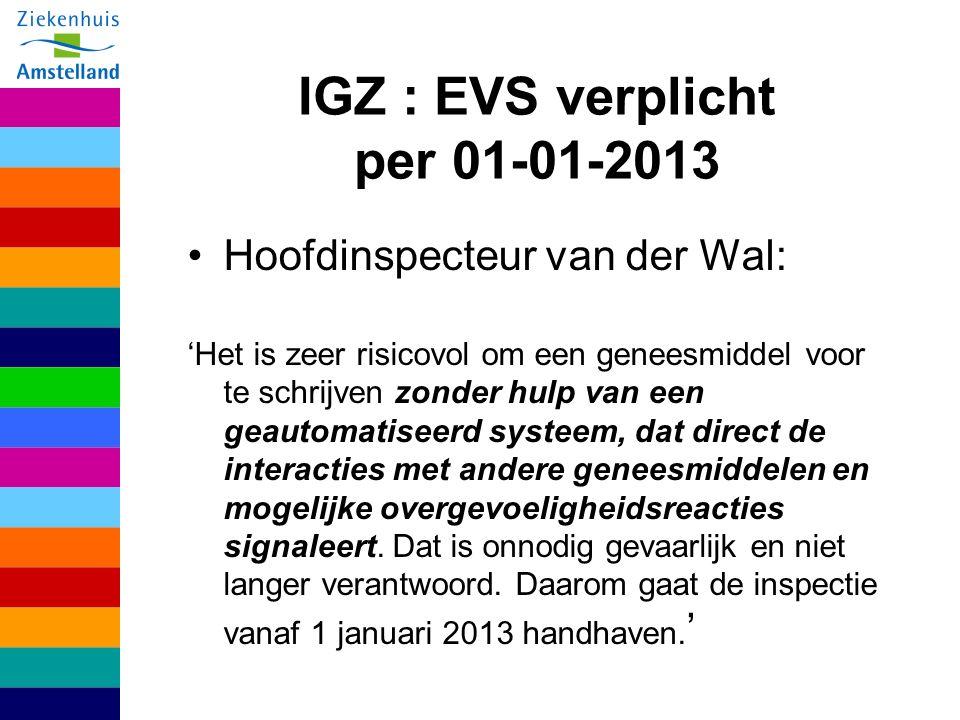 IGZ : EVS verplicht per 01-01-2013