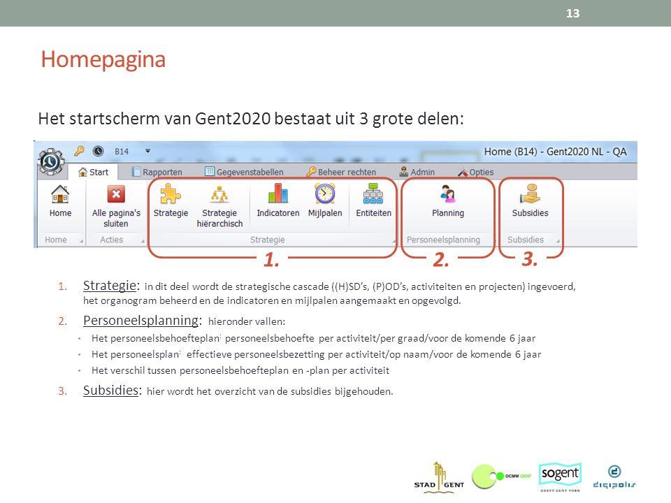 Homepagina Het startscherm van Gent2020 bestaat uit 3 grote delen: