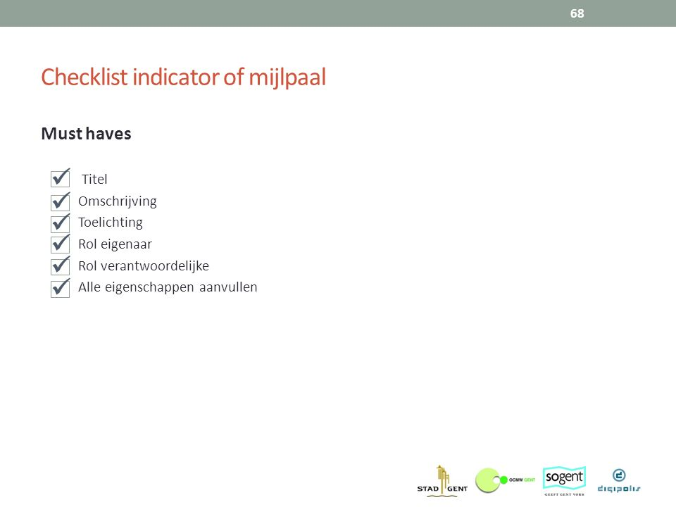 Checklist indicator of mijlpaal