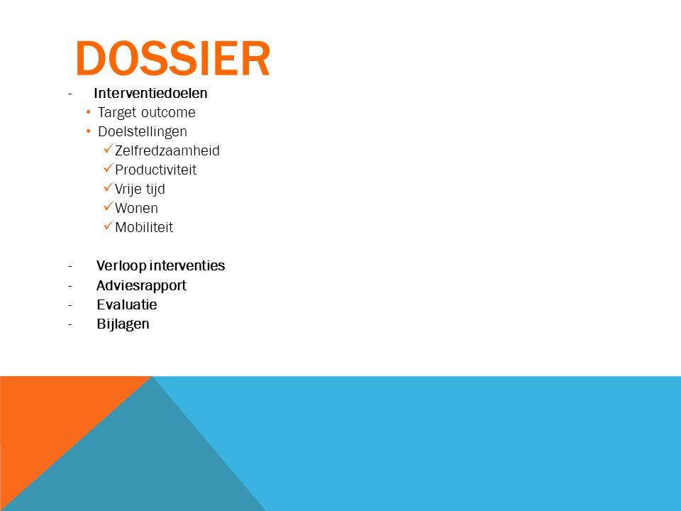 Dossier Interventiedoelen Target outcome Doelstellingen