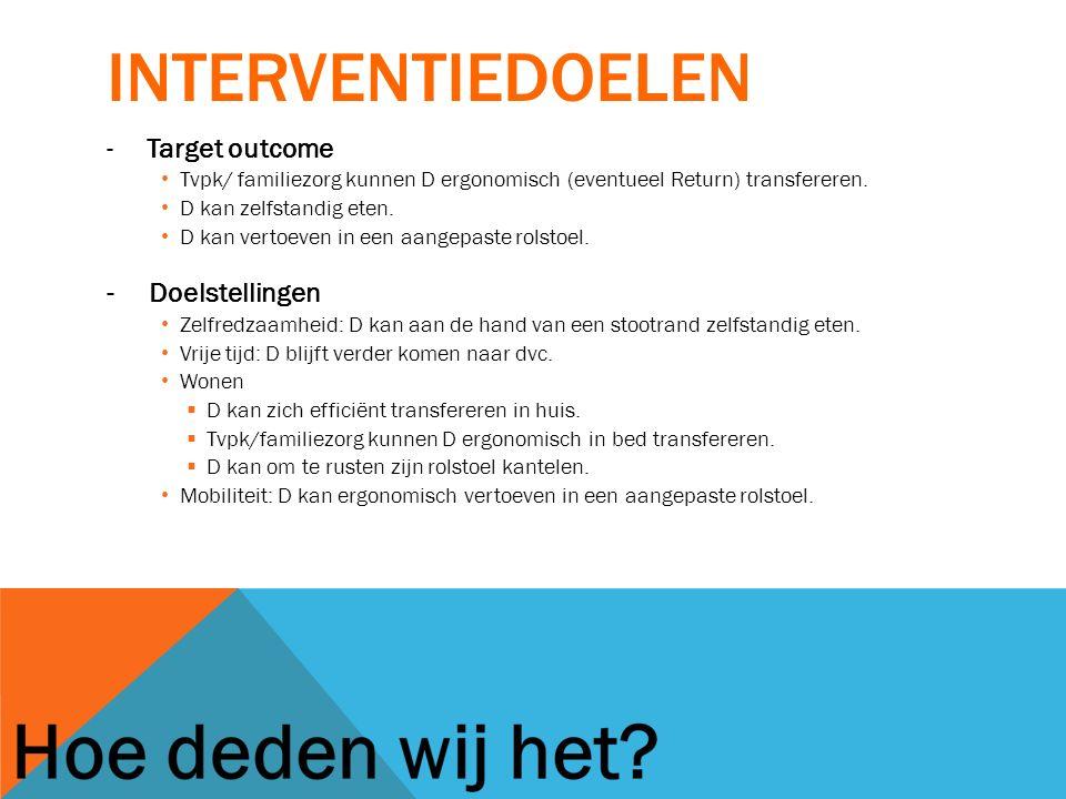 interventiedoelen Target outcome - Doelstellingen