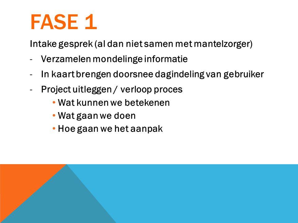 FASE 1 Intake gesprek (al dan niet samen met mantelzorger)
