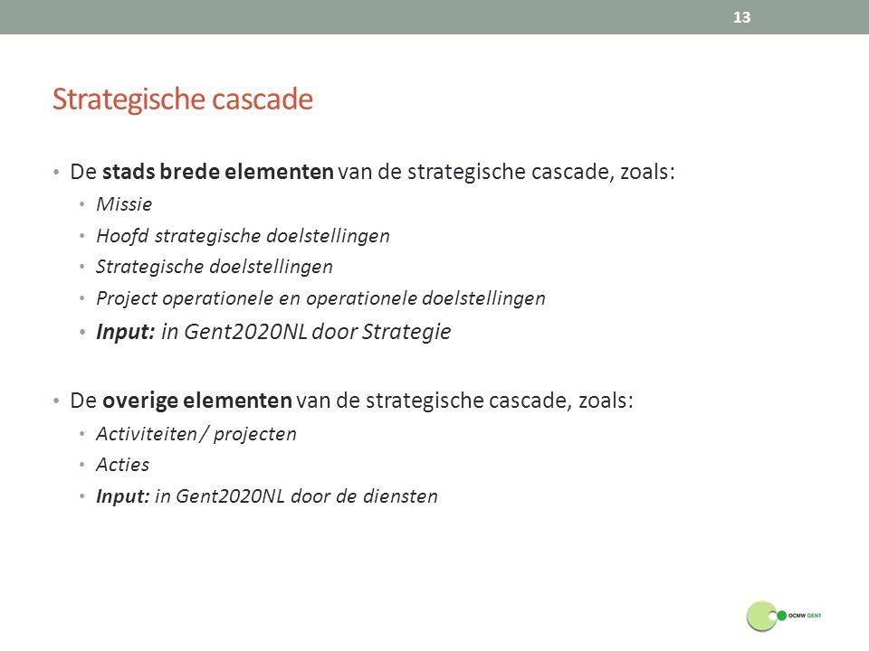 Strategische cascade De stads brede elementen van de strategische cascade, zoals: Missie. Hoofd strategische doelstellingen.