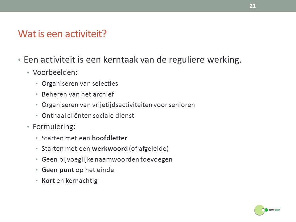 Wat is een activiteit Een activiteit is een kerntaak van de reguliere werking. Voorbeelden: Organiseren van selecties.