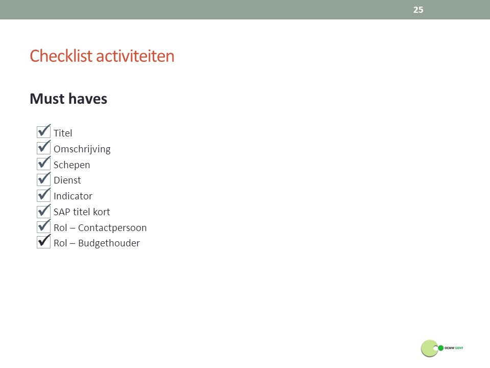 Checklist activiteiten