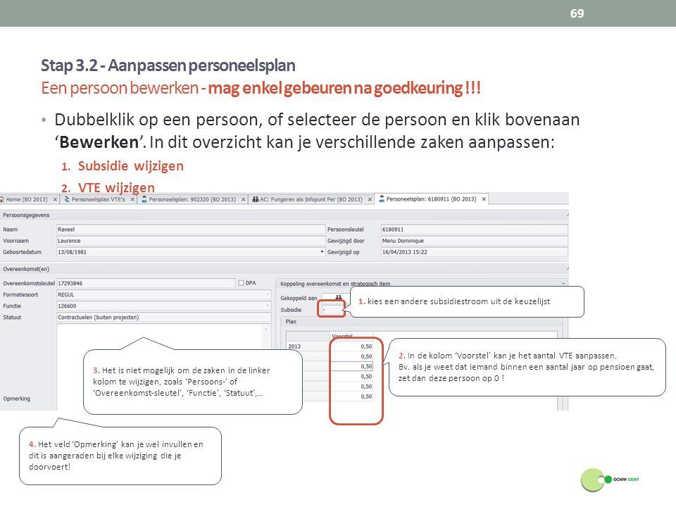 Stap 3.2 - Aanpassen personeelsplan Een persoon bewerken - mag enkel gebeuren na goedkeuring !!!