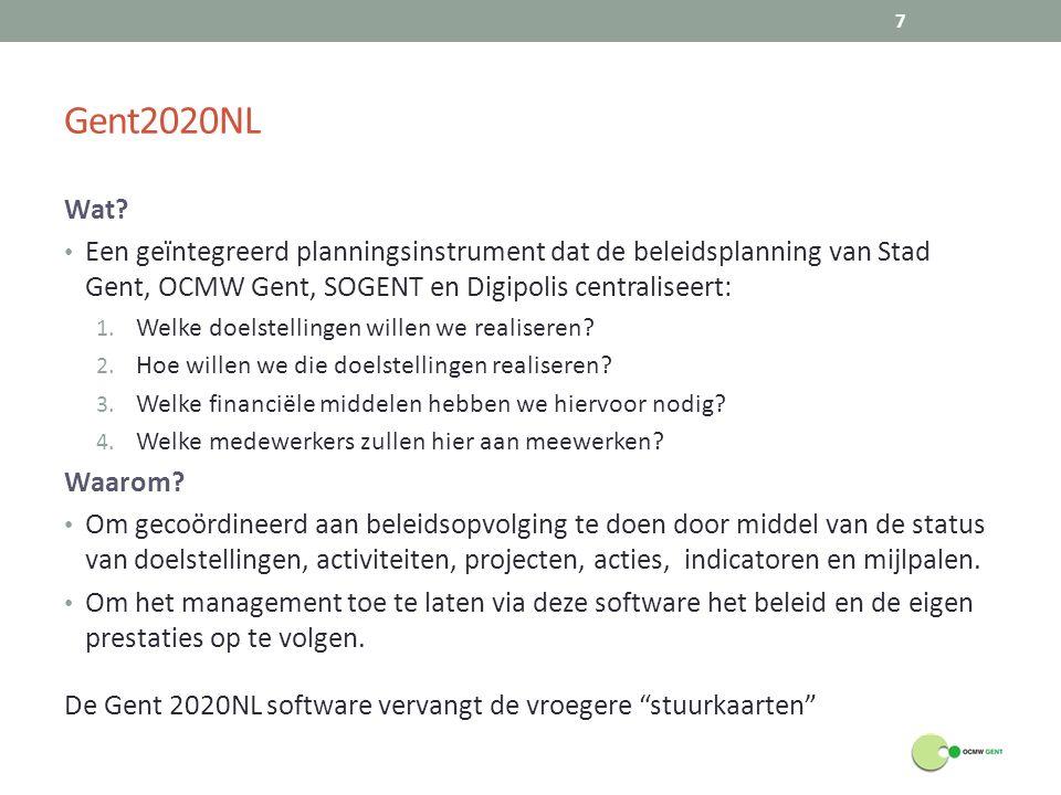 Gent2020NL Wat Een geïntegreerd planningsinstrument dat de beleidsplanning van Stad Gent, OCMW Gent, SOGENT en Digipolis centraliseert: