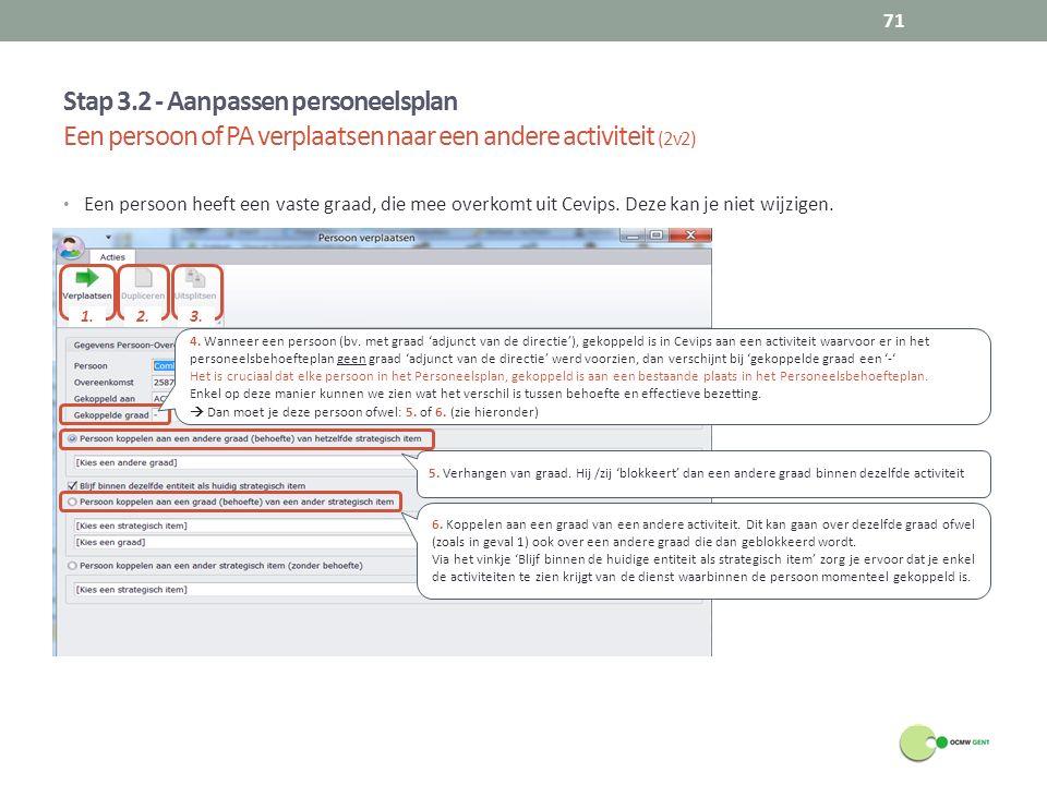 Stap 3.2 - Aanpassen personeelsplan Een persoon of PA verplaatsen naar een andere activiteit (2v2)