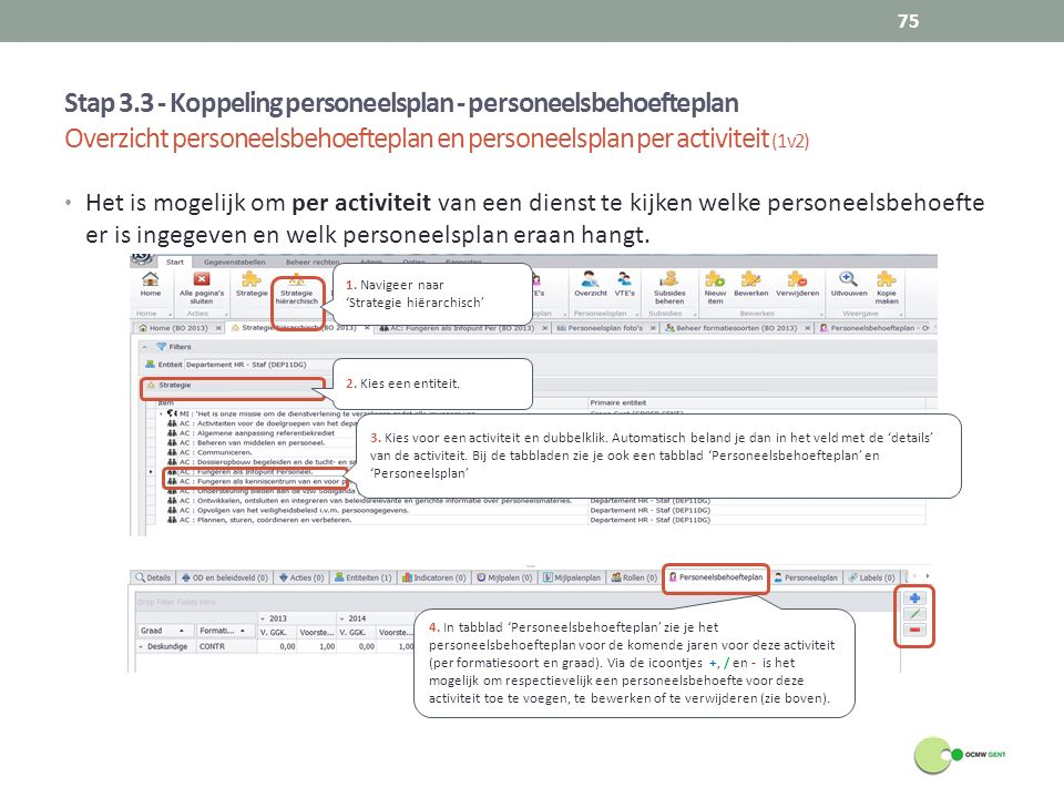 Stap 3.3 - Koppeling personeelsplan - personeelsbehoefteplan Overzicht personeelsbehoefteplan en personeelsplan per activiteit (1v2)