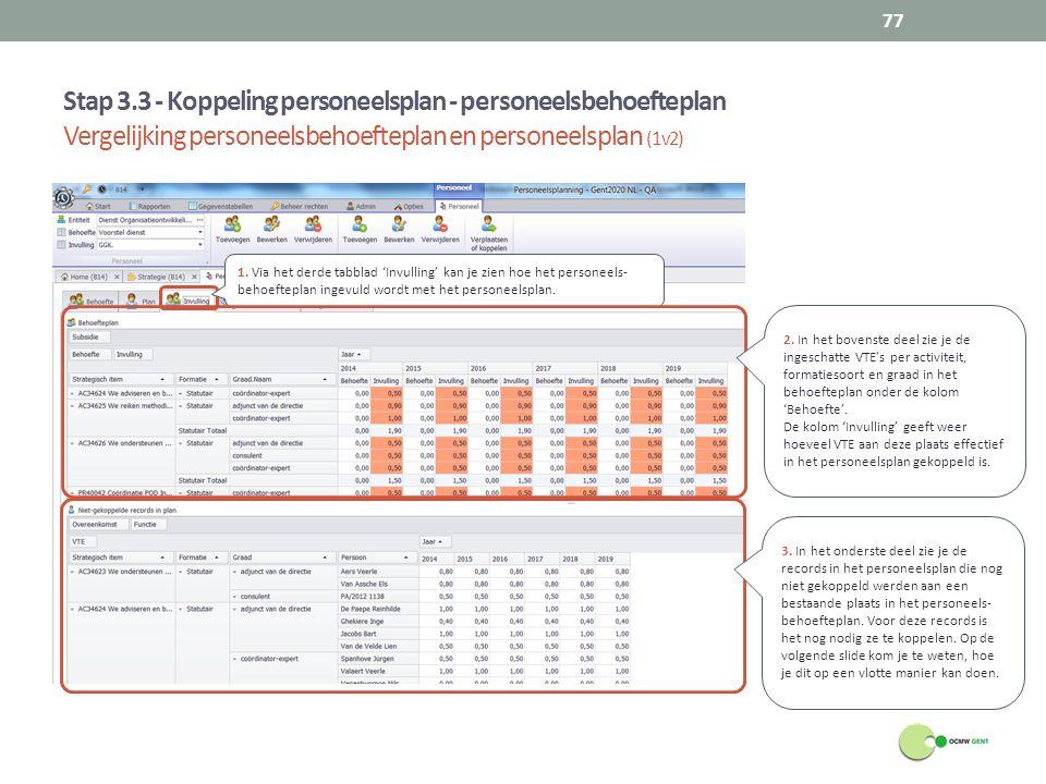Stap 3.3 - Koppeling personeelsplan - personeelsbehoefteplan Vergelijking personeelsbehoefteplan en personeelsplan (1v2)