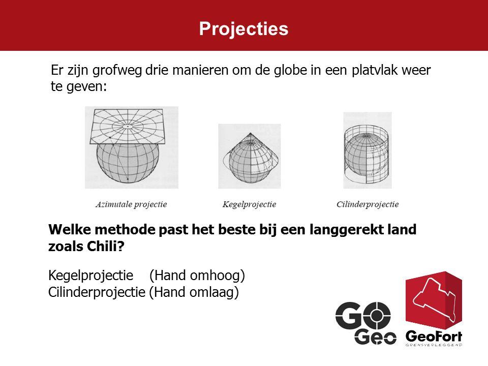 Projecties Er zijn grofweg drie manieren om de globe in een platvlak weer te geven: