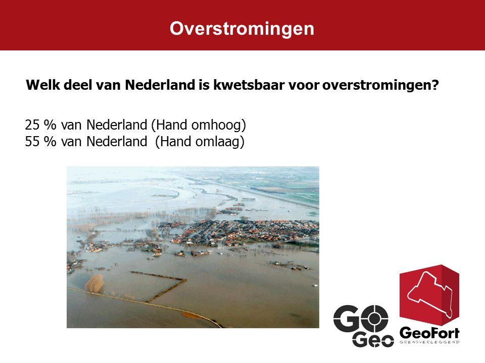 Overstromingen Welk deel van Nederland is kwetsbaar voor overstromingen 25 % van Nederland (Hand omhoog)