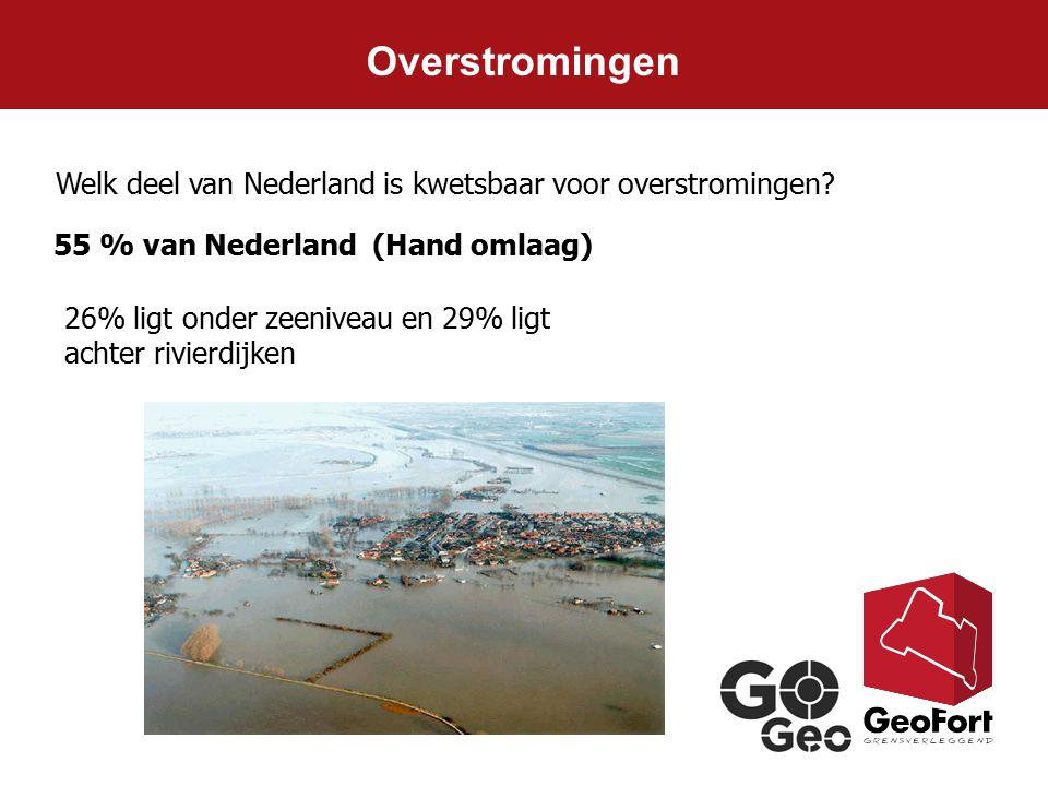 Overstromingen Welk deel van Nederland is kwetsbaar voor overstromingen 55 % van Nederland (Hand omlaag)