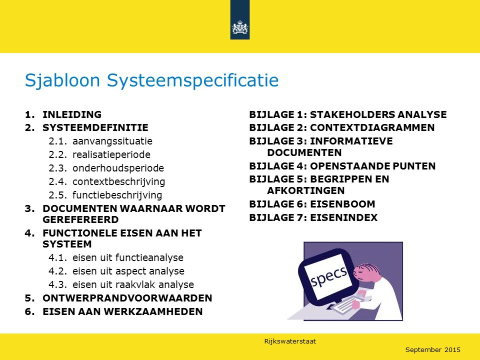 Sjabloon Systeemspecificatie