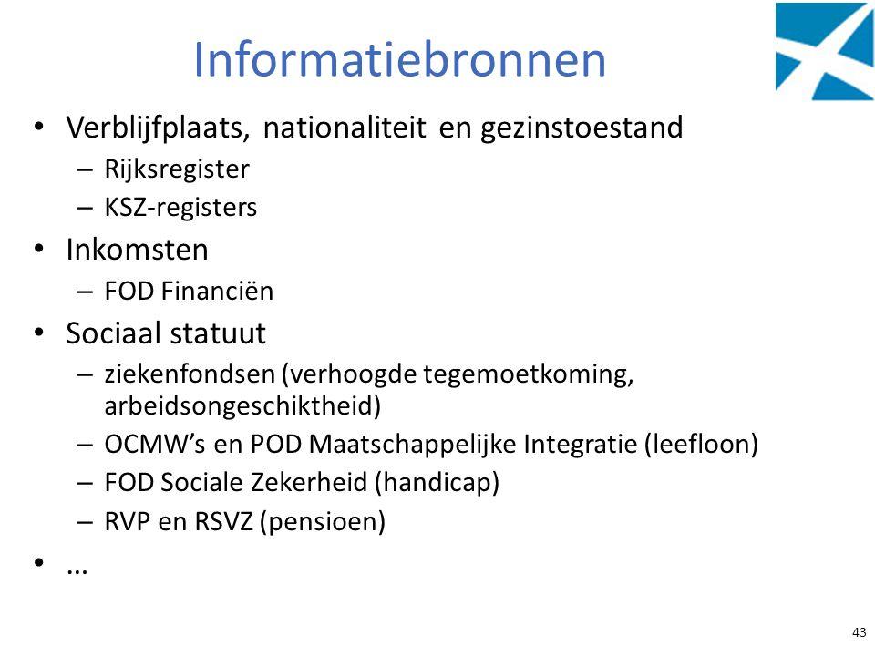 Informatiebronnen Verblijfplaats, nationaliteit en gezinstoestand
