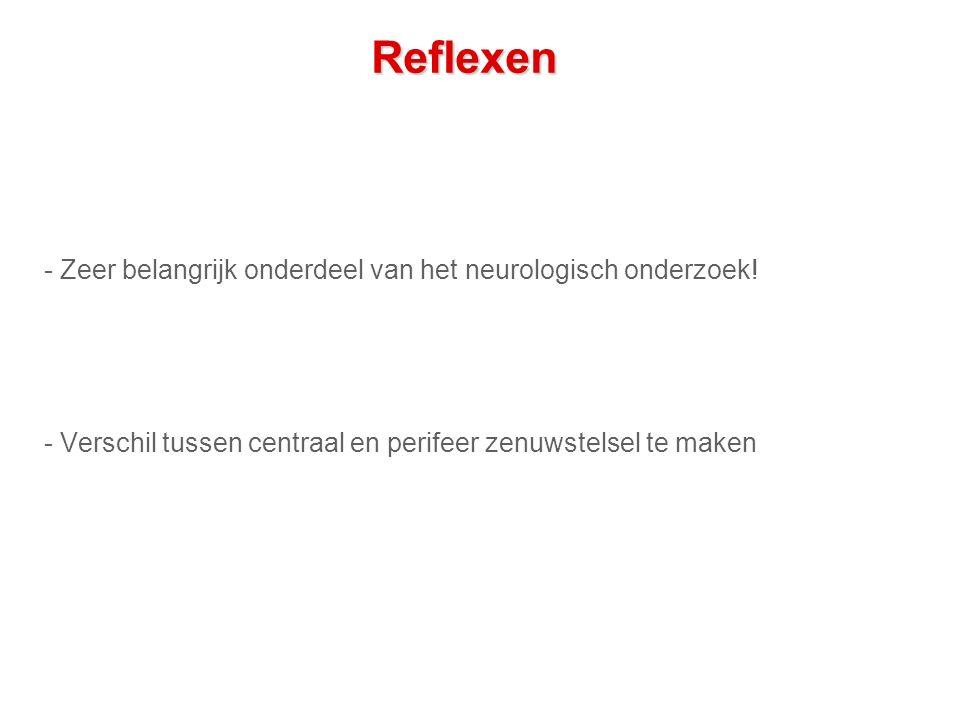 Reflexen - Zeer belangrijk onderdeel van het neurologisch onderzoek!