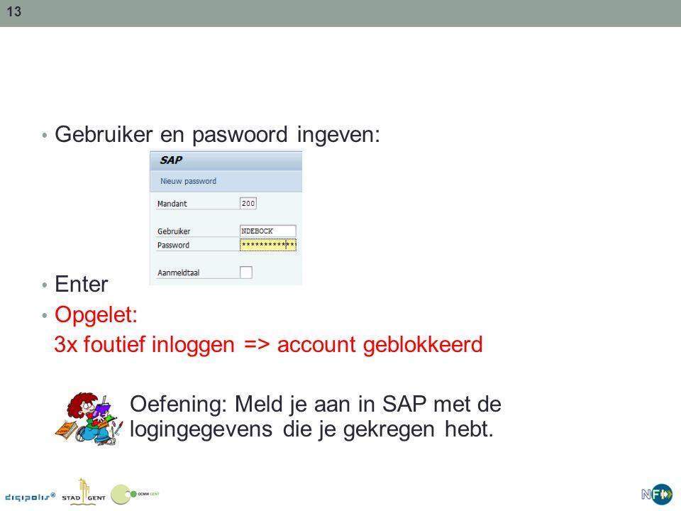 Gebruiker en paswoord ingeven: