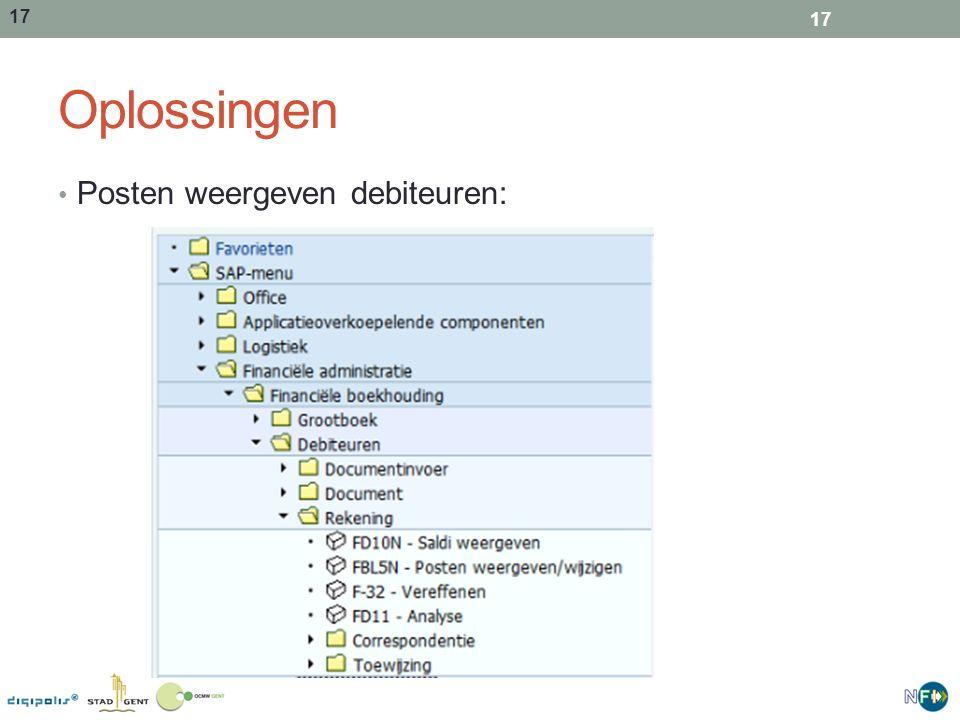 Oplossingen Posten weergeven debiteuren: