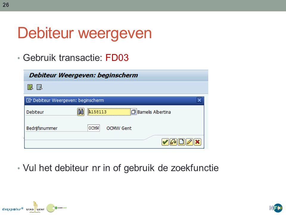 Debiteur weergeven Gebruik transactie: FD03