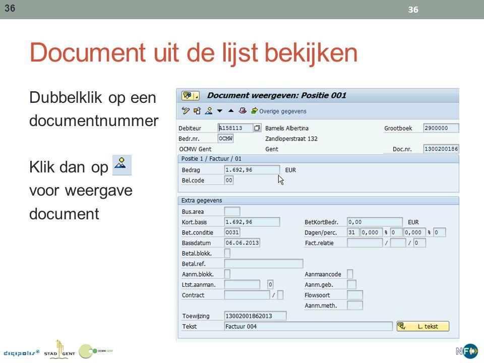 Document uit de lijst bekijken