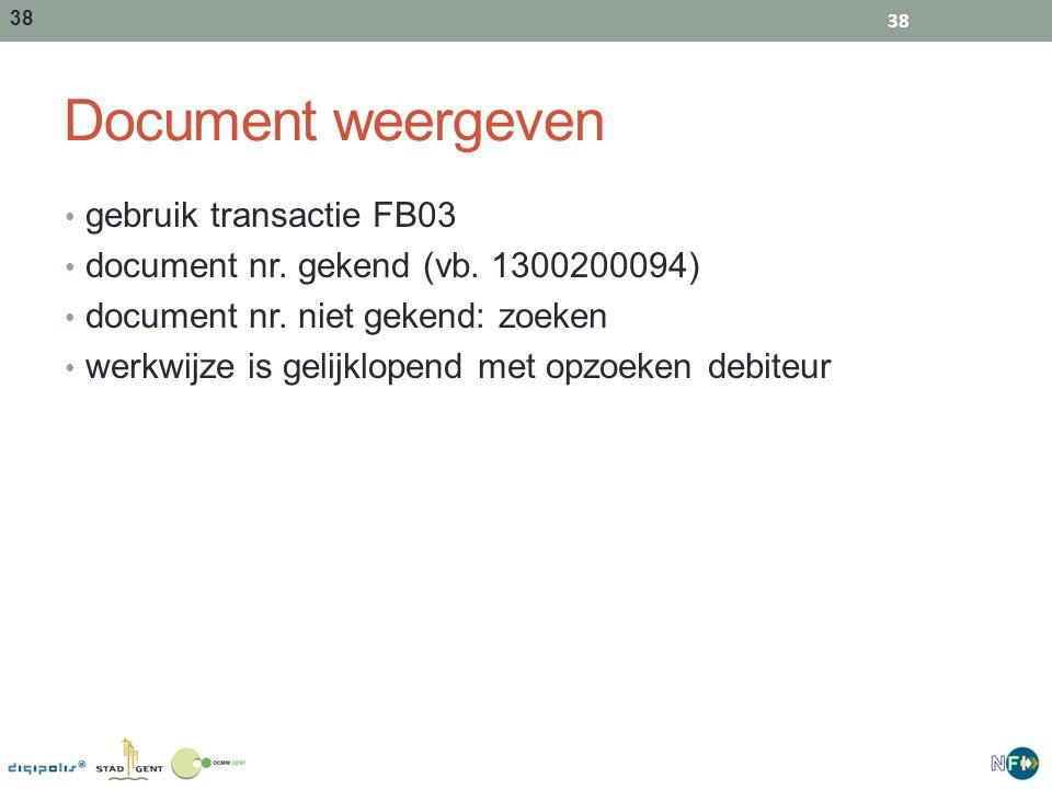 Document weergeven gebruik transactie FB03