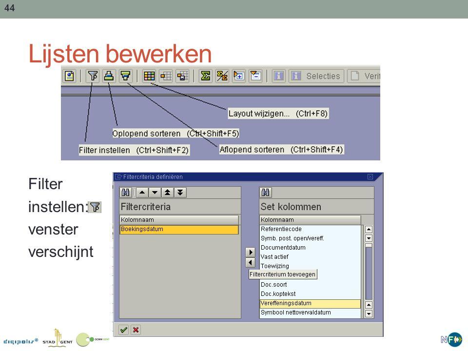 Lijsten bewerken Filter instellen: venster verschijnt