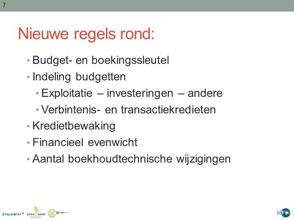 Nieuwe regels rond: Budget- en boekingssleutel Indeling budgetten