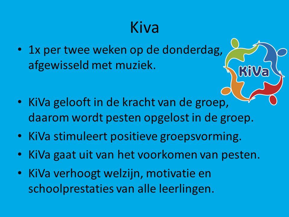 Kiva 1x per twee weken op de donderdag, afgewisseld met muziek.