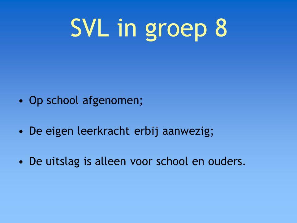 SVL in groep 8 Op school afgenomen;