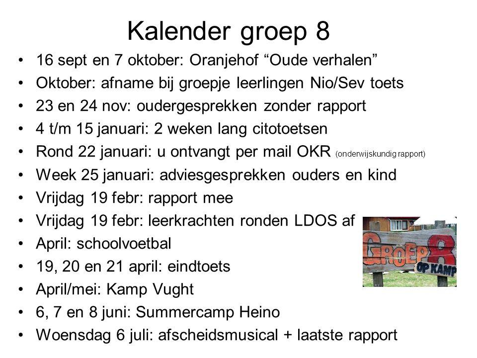 Kalender groep 8 16 sept en 7 oktober: Oranjehof Oude verhalen