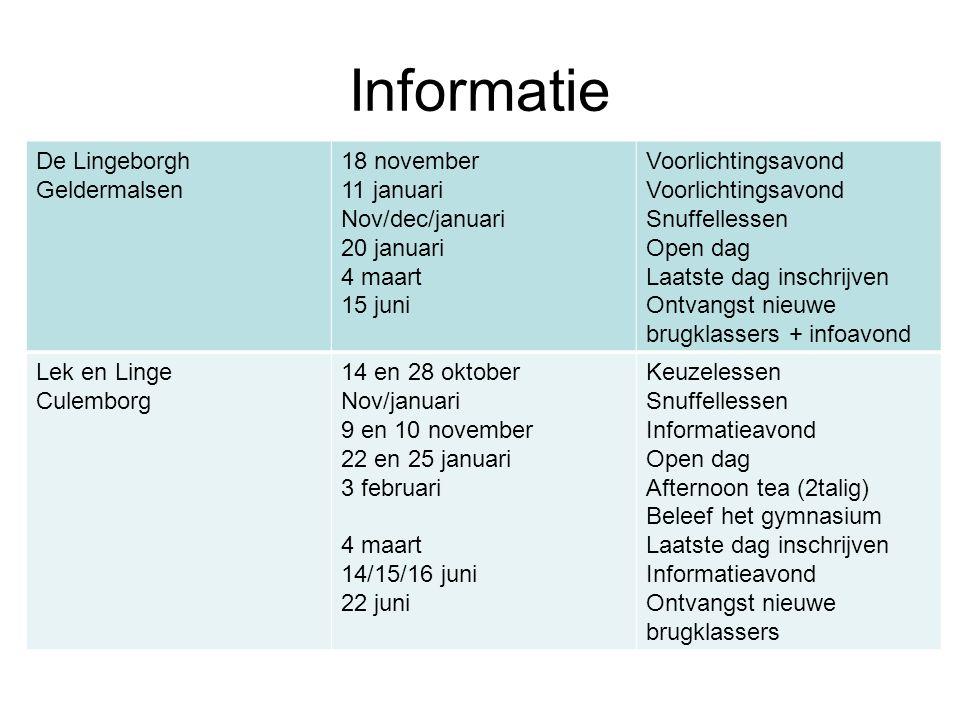 Informatie De Lingeborgh Geldermalsen 18 november 11 januari