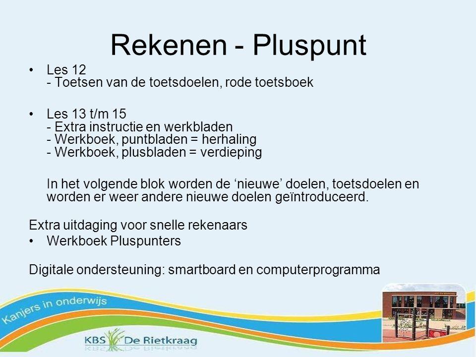 Rekenen - Pluspunt Les 12 - Toetsen van de toetsdoelen, rode toetsboek