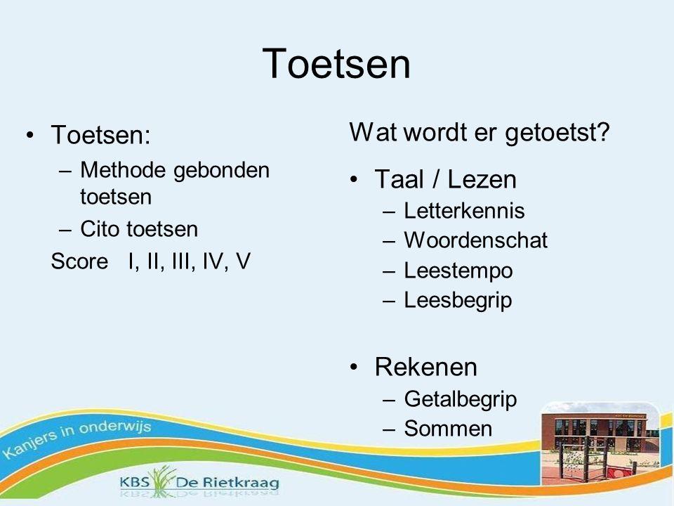 Toetsen Toetsen: Wat wordt er getoetst Taal / Lezen Rekenen